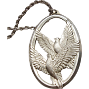 Wallace Sterling Silver Peace Doves Pendant or Christmas Ornament 1976