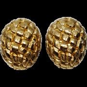 Kenneth Jay Lane Gold Tone Metal Basketweave Clip-On Earrings