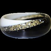 Black and White Glitter Lucite Bangle Bracelet
