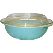 SALE PENDING Vintage Pyrex Fired-On Turquoise 2 Quart Casserole