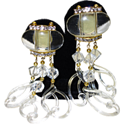 Vintage Clear Lucite and Rhinestone Shoulder Duster Earrings