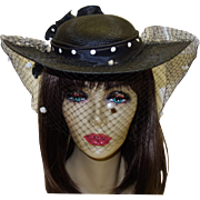 Vintage Black Woven Sonni San Francisco Hat