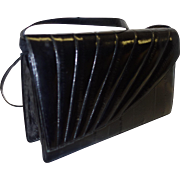 Vintage Black Eel Skin Envelope Style Convertible Shoulder Clutch Bag