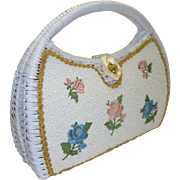 Handmade White Wicker Handbag with Beaded and Embroidered Floral Accents by Narber Originals M