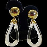 SALE Vintage Clear Lucite Oval Hoop Drop Earrings