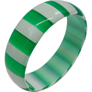Vintage Green and White Cased Striped Lucite Bangle Bracelet