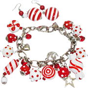 Vintage Red and White Glass Beaded Charm Bracelet