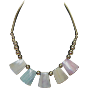 Vintage Pastel Mother of Pearl Disc Necklace