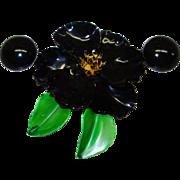 Large 1960's Black Enamel Metal Flower Pin