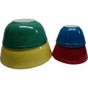 Vintage Pyrex Primary Color Bowl Set