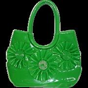 HUGE Vintage 1960's Bright Green Vinyl Purse Tote Bag