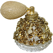 SALE Vintage Gold Tone Filigree Clad Perfume Bottle