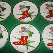 HALF OFF SALE Set of 6 Porcelain Bayreuth 22Kt Gold Christmas Mini Plates