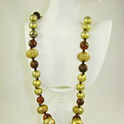 SALE Stunning Root Beer and Gold Tone Bead Necklace