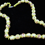 SALE Art Glass Bead Necklace with Yellow Accents