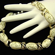 SALE Vintage Coro Milk Glass Thermoset Choker with Gold Tone