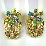 SALE Script Coro Pastel Rhinestone Earrings ~ Mint!