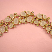 SALE Stunning Opalescent Clam Broth Cabochon & Rhinestone Bracelet