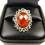 SALE Fancy Faceted Simulated Carnelian Cabochon in Ornate Sterling