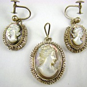 SALE 800 Silver Mother of Pearl Cameo Pendant and Earrings