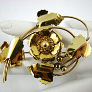 SALE Louis Stern Amber Rhinestone Brooch ~ Circa 40s ~ 1/20 12Kt Gold Filled