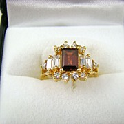 SALE Root Beer and Clear Rhinestone Cocktail Ring ~ Size 6
