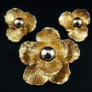 SALE Rare Julio Marsella 1940s Gold Tone Brooch and Earrings