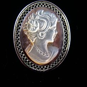 SALE Beau Sterling Mother of Pearl Cameo on Abalone Brooch