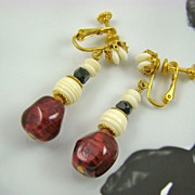 SALE Cranberry and Ivory Colored Bead Dangle Earrings ~ Miriam Haskell