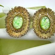 SALE Elizabeth MORREY Green Confetti Glass Earrings
