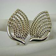 SALE Silvertone Deco Style Napier Earrings