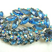 SALE Phenomenal Shades of Blue Rhinestone Rhodium Plated Brooch