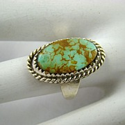SALE Sterling Turquoise with Brown Matrix Ring ~ Signed Otero
