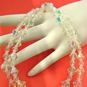 SALE Sparkling Aurora Borealis Bicone Crystal Bead Necklace