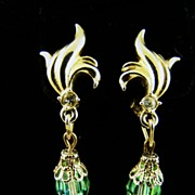 SALE Green Aurora Borealis Dangle Earrings
