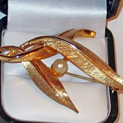 SALE Classic Gold Plated Feather and Pearl Brooch signed Boucher