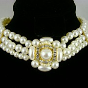 SALE Imitation Pearl and Rhinestone Choker