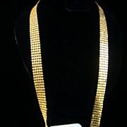 SALE Bright Gold Tone Mesh Necklace