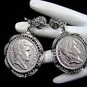 SALE Napoleon Empereur Faux Coin Earrings