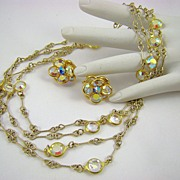 SALE Stunning Unsigned Swarovski Aurora Borealis Crystal Bezel Necklace and Earrings