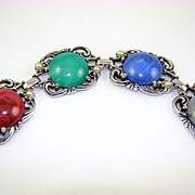 SALE Marbled Lucite Cabochon Bracelet with Imitation Pearls