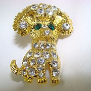 SALE Gold Tone Puppy Brooch with Brilliant Chatons