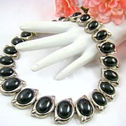 SALE Classic Black and Silvertone Necklace by Monet