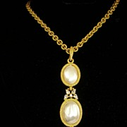SALE Rare Stunning Crown Trifari Pendant and Chain~ Imitation Pearls and Rhinestones