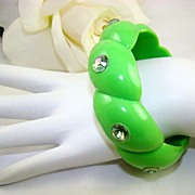 SALE Apple Green Lucite Bangle with Aurora Borealis Rhinestones