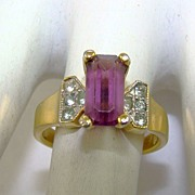 SALE Emerald Cut Amethyst Colored Glass and Chaton Ring ~ 18K HGE