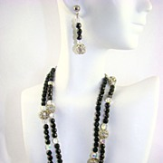 SALE Stunning Black Glass Bead, Crystal and Rhinestone Rondelle Demi Parure