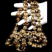 SALE Vogue Lampwork Gold Foil Bead Necklace
