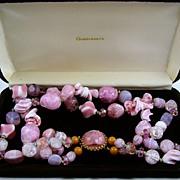 SALE Stunning Hattie Carnegie Pink Art Glass Necklace