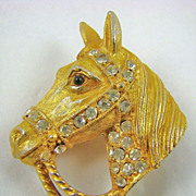 SALE Gold Tone Horse Head Brooch with Sparkling Chatons